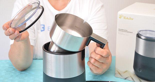 Tchibo Induktions-Milchaufschäumer Im Test - Spülmaschineneignung der abnehmbaren Teile: Rührbehälter, Einsätze und Deckel
