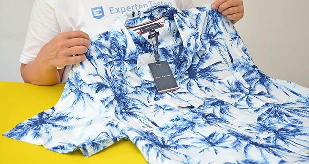 Tommy Hilfiger Herren Large Water Color Palm Hemd im Test - Kragenform: Kent