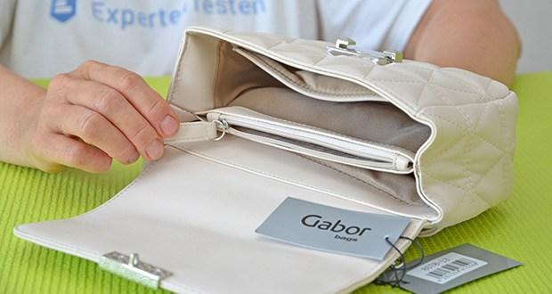 Gabor Damen Katja Flap Bag im Test - innen eine Mittelwand mit Reißverschlussöffnung