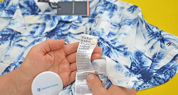 Tommy Hilfiger Herren Large Water Color Palm Hemd im Test - Pflegehinweis: Maschinenwäsche
