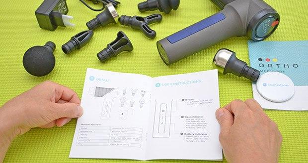 Orthomechanik OrthoGun 2.0 Massagepistole im Test - Gebrauchsanleitung und auch ein Heft mit Tipps zur Anwendung auf Deutsch