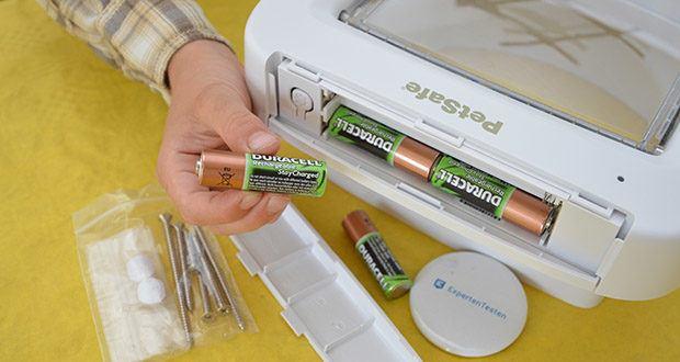 PetSafe Katzenklappe mit Chiperkennung im Test - Batteriebetrieben - benötigt 4 sehr leistungsstarke AA-Batterien