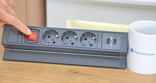Elbe Inno klemmbare Tischsteckdose im Test - verfügt über eine stabile Struktur aus Aluminium und PVC-Kunstoff, welche eine lange Funktionsdauer garantiert