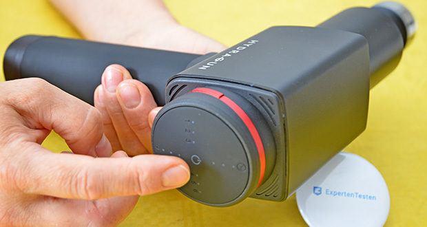 Hydragun Massagepistole im Test - Geschwindigkeitseinstellungen: 6 Stufen