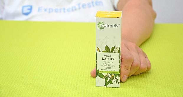 Naturely Vitamin D3 K2 Tropfen im Test - beinhalten 25µg (1000 I.E.) Vitamin D3 und 20µg Vitamin K2