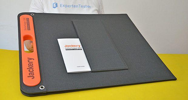 Jackery Faltbares Solarpanel SolarSaga 100 im Test - Lieferumfang: 1x Jackery SolarSaga 100, 1x Bedienungsanleitung