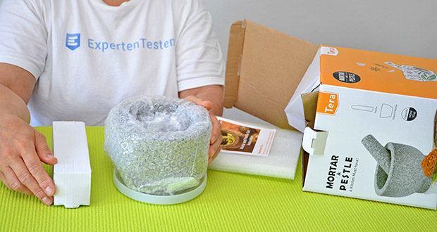 Tera Granit Mörser mit Stößel im Test - die einwandfreie Lieferung vom Stößel und Mörser wird durch eine ausreichende Polsterung im Inneren der Verpackung gewährleistet
