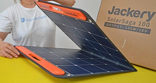 Jackery Faltbares Solarpanel SolarSaga 100 im Test - strapazierfähiges ETFE-Material auf der Oberfläche sorgt für eine lange Lebensdauer, hohe Lichtdurchlässigkeit und leichtes Gewicht