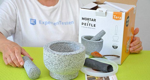 Tera Granit Mörser mit Stößel im Test - Lieferumfang: 1x Mörser, 1x Stößel, 1x Silikondeckel, 1x Knoblauchschäler