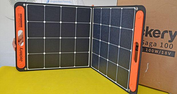 Jackery Faltbares Solarpanel SolarSaga 100 im Test - die hocheffizienten monokristallinen Solarzellen erreichen eine Umwandlungseffizienz von 23%