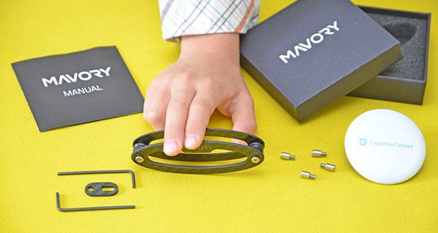 Mavory Carbon Schlüssel Organizer im Test - Lieferung: 1x Mavory Schlüssel Organizer mit Trennenscheiben, 1x universal Adapter, 4x Verlängerungen, 2x Werkzeuge, 1x Anleitung