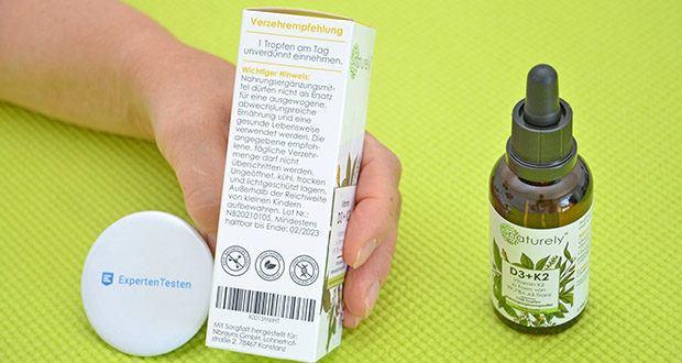 Naturely Vitamin D3 K2 Tropfen im Test - sind 100% vegetarisch und frei von unerwünschten Zusatzstoffen