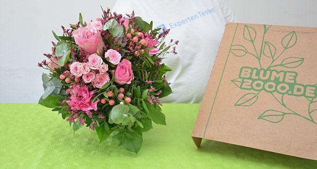 Blume2000 Blumenstrauß Schön, dass es Dich gibt im Test - der blumige Gruß in zartem Rosa besteht aus prachtvollen Rosen, schönem Johanniskraut, verspielten Nelken, Salal und betörenden Wachsflower