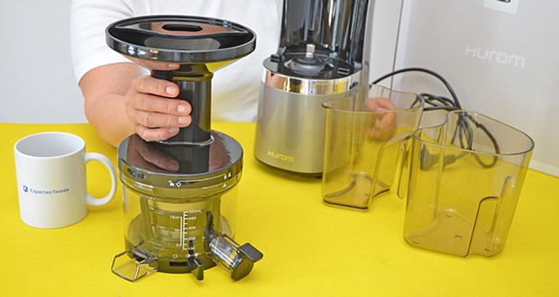 Hurom Slow Juicer S13 im Test - verfügt über abnehmbare Teile, wodurch die Reinigung wesentlich erleichtert wird