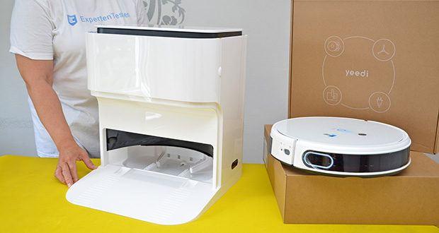 Yeedi Mop Station Roboter-Mopp im Test - die Selbstreinigungsstation mit zwei separaten 3500 ml fassenden Wasserbehältern wäscht die schmutzigen Wischmopps automatisch, wie eine Waschmaschine