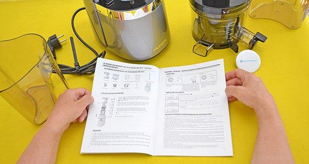 Hurom Slow Juicer S13 im Test - das System mit doppelter Überprüfung startet erst dann, wenn Hauptgehäuse und Trommel sicher miteinander verbunden sind