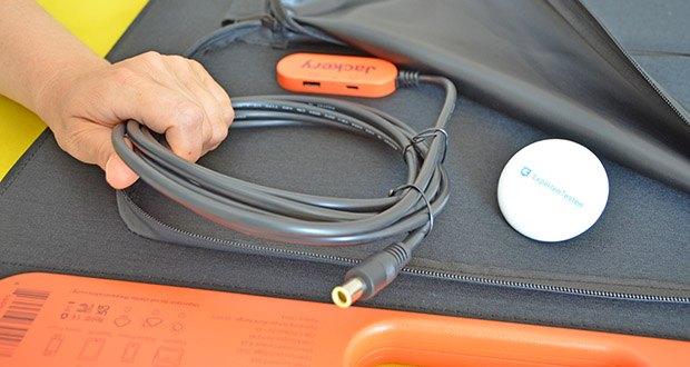 Jackery Faltbares Solarpanel SolarSaga 100 im Test - ausgestattet mit 1 USB-A (5V, 2,4A) und 1 USB-C-Anschluss (5V, 3A), zum Laden von Smartphone, Tablet und Kamera