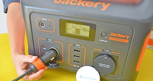Jackery Tragbare Powerstation Explorer 500 im Test - versorgt die 230V/500W Steckdose (Spitzenwert 1000 W), 3 USB-A-Anschlüsse und den 12V Autoanschluss mit genügend Power