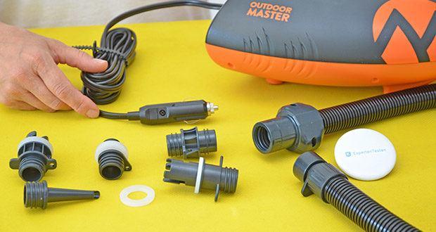 Outdoor Master Shark II SUP Pumpe im Test - wählen Sie eine Düse aus kompletten Set, um fast alle Hochdruck-Aufblasbare aufzublasen