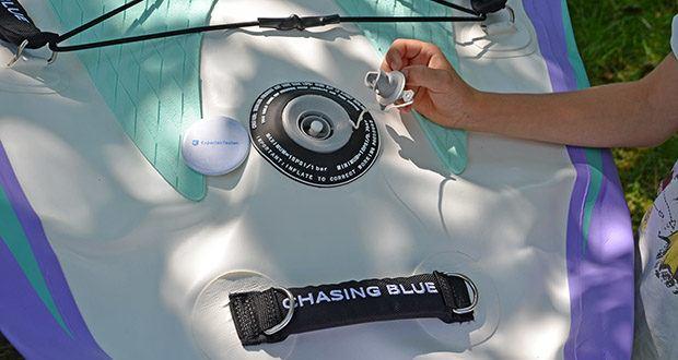 Outdoor Master Violet Spirit iSUP Board im Test - doppelt gesichertes Ventil zum Aufblasen mit Federsteuerung für höhere Sicherheit, einfache Kontrolle beim Aufblasen und ein einfacher Druck zum automatischen Ablassen