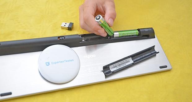 Rapoo E2710 kabellose Tastatur im Test - bis zu 6 Monate Batterielaufzeit (inkl. 2 AAA Batterien)