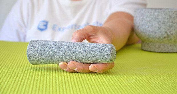 Tera Granit Mörser mit Stößel im Test - der Stößel kann ebenfalls beidseitig verwendet werden