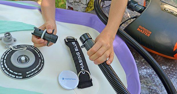 Outdoor Master Violet Spirit iSUP Board im Test - die beste Kombination mit Outdoor Master Shark II SUP Pumpe