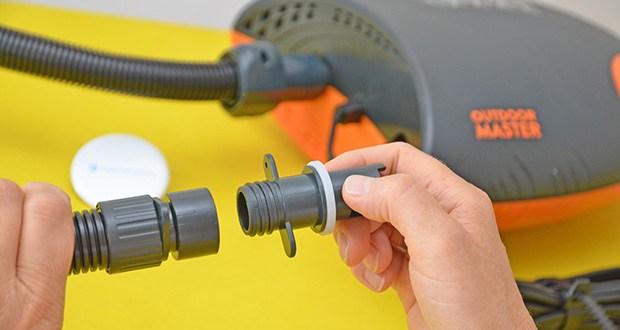 Outdoor Master Shark II SUP Pumpe im Test - ist mit fast jedem iSUP Board, Boot oder Kajak kompatibel, so dass Sie nur eine Pumpe für alle Ihre Aufblasbare benötigen