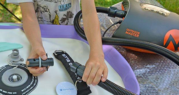 Outdoor Master Shark II SUP Pumpe im Test - die Deflation ist einfach - stellen Sie es ein, um zu entleeren und die Luft wird unter 1 Minute vakuumiert und damit ist es bereit fürs Packen