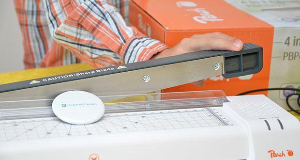 Peach PBP420 Laminiergerät A3 im Test - Hebelschneider mit Sicherheitsverschluss; schneidet bis zu 8 Blatt A4 oder 1 laminiertes Dokument