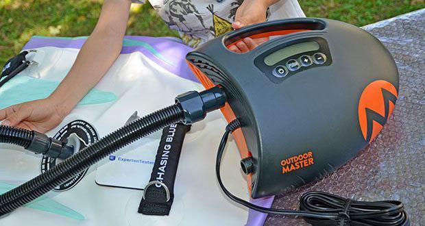 Outdoor Master Shark II SUP Pumpe im Test - nutzt die modernste Technik mit Überlegung der Geschwindigkeit und Effizienz, um Ihr SUP-Board oder ein anderes aufzublasendes Gerät in einer schnellen Geschwindigkeit aufzublasen und gleichzeitig optimalen Druck zu halten