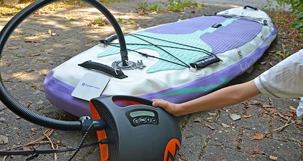 Outdoor Master Violet Spirit iSUP Board im Test - das innovative, abnehmbare, flache Bungeeband hat eine viel bessere Elastizität und Spannkraft als die normalen, dünneren Fäden