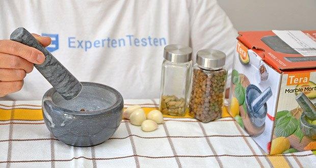Tera Marmor Mörser und Stößel im Test - ein gutes Geschenk für einen Küchenfreund