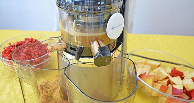Hurom Slow Juicer S13 im Test - durch die feinen und dichten Löcher entsteht reiner Saft mit vollem Aroma