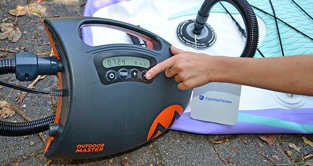 Outdoor Master Shark II SUP Pumpe im Test - unterstützter Druckbereich: 0.5-20 PSI (0.034-1.378 Bar)