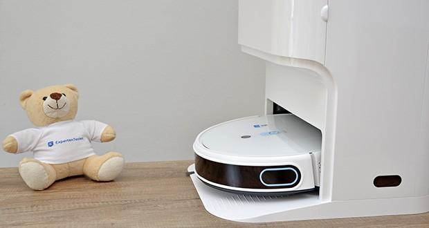 Yeedi Mop Station Roboter-Mopp im Test - zum Aufladen kehrt er in die Ladestation zurück und setzt die Reinigung genau dort fort, wo er aufgehört hat