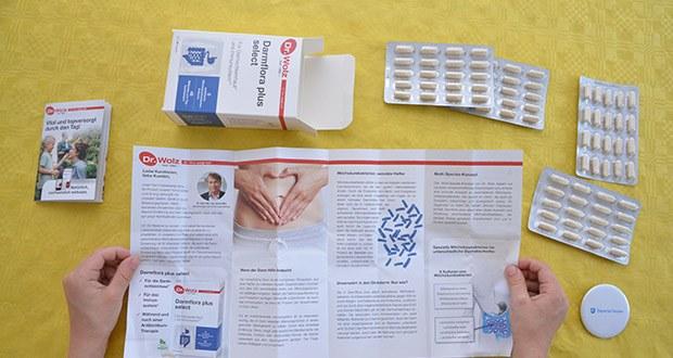 Dr. Wolz Darmflora plus select hochdosierte Bakterienkulturen im Test - die säureresistente Cellulosekapselhülle schützt die Milchsäurebakterien vor Magen- und Gallensäure