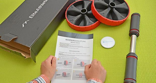 EliteAthlete Bauchtrainer rot im Test - lässt sich kinderleicht vom Einrad-Modus (Single Mode) in den Doppelrad-Modus (Dual Mode) umrüsten
