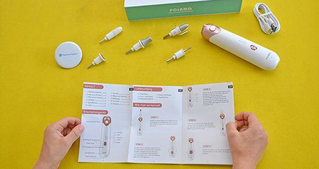 POLAMD Maniküre Pediküre Set im Test - mit seinem leistungsstarken Motor leistet hervorragende Arbeit beim Polieren der Nägel, Glätten von Hornhaut, Abfeilen von verdickten Finger- und Fußnägeln und rauer, abgestorbener Haut an Ihren Füßen