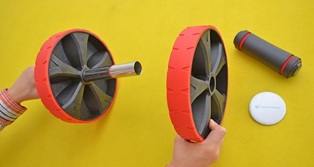 EliteAthlete Bauchtrainer rot im Test - die spezielle Oberfläche des Rads ist für zusätzlichen Grip strukturiert und maximiert die Traktion und Stabilität beim Rollen