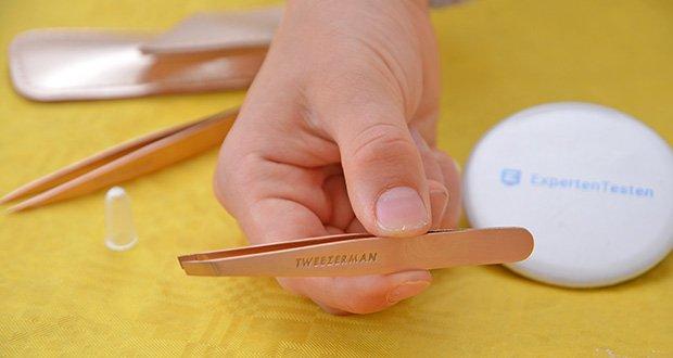 Tweezerman Rose Gold Petite Pinzetten-Set im Test - schräge Pinzette: für präzise Augenbrauenformung