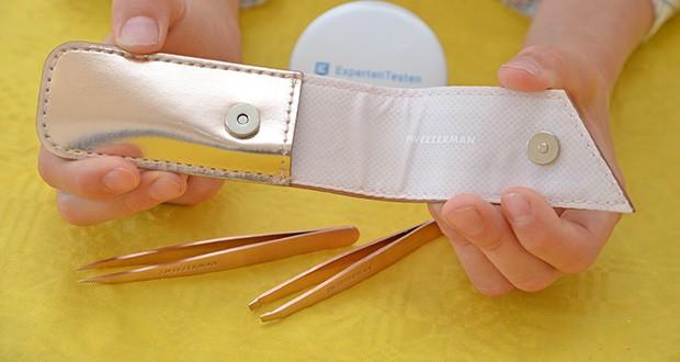 Tweezerman Rose Gold Petite Pinzetten-Set im Test - der Koffer des Petite Tweeze Sets hält Werkzeuge sauber und geschütz