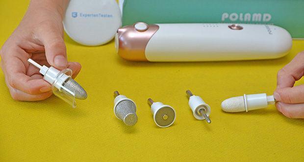 POLAMD Maniküre Pediküre Set im Test - die Aufsätze sind aus Saphir und Filz gefertigt, robust und langlebig, besonders geeignet zum Entfernen harter Haut