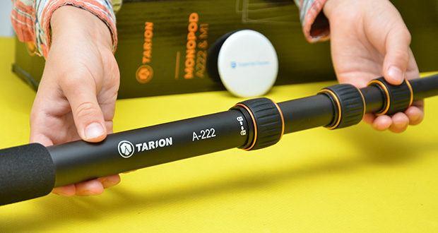 TARION A-222 Einbeinstativ im Test - die Höhe des Stativs, die total 5 Teile hat, ist von 45cm bis 165cm verstellbar