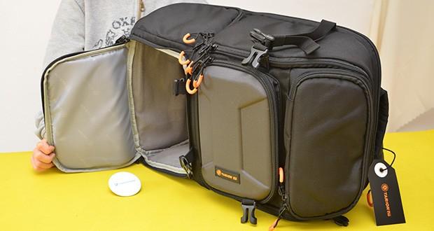 Tarion Kamerarucksack Fotorucksack im Test - einfache Zugänglichkeit für 3 Fächer über das Seitenfach, die obere Öffnung und das dedizierte hintere Computerfach