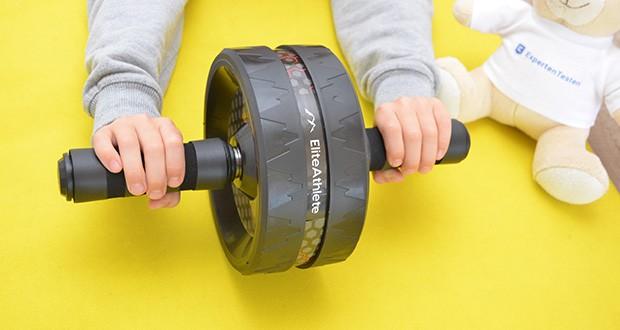 EliteAthlete Bauchtrainer schwarz im Test - bietet perfekte Stabilität, dank dem extra breiten Rad und der speziellen Anti-Rutsch-Beschichtung