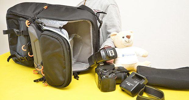 Tarion Kamerarucksack Fotorucksack im Test - große Kapazität: Platz für 2 Kameras + 8 Objektive + 1 Stativ + Zubehör
