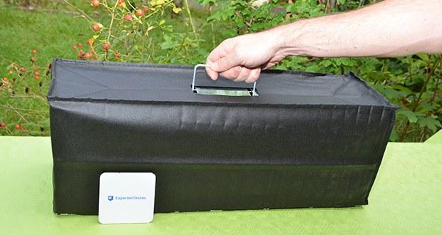Elbe Lebendfalle MAF04 61x18x21cm im Test - wird mit einer biologisch abbaubaren, umweltfreundlichen Haube geliefert, mit der Sie die Falle nach erfolgreichem Fang abdecken können, wodurch das Tier in der Falle zur Ruhe kommt