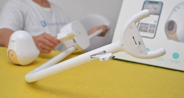 Cubo Ai Plus Smart Babyphone im Test - der Ständer passt zu den meisten Kinderbetten, Wiegen, Stubenwagen oder anderswo